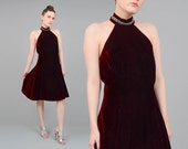 80s Burgundy Dress Rhinestone Choker High Neckline Vintage 1980s Red Velvet Dress Full Holiday Party Dress Large L