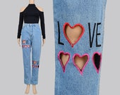 Vintage 80s 90s LOVE Embroidered Jeans | Hearts Cut Out Jeans | High Waist Skinny Jeans Tapered Leg Jeans | Frederick's of Hollywood | S M