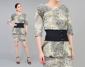Vintage 80s Animal Print Mini Dress | Stretchy Wiggle Body Con Dress | 1980s Peplum Waist Belted Dress | Cheetah Leopard | size XS S
