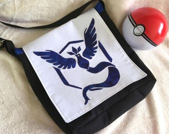 NEW! Articuno! Pokemon Go inspired Messenger bag! Team Mystic, Adjustable strap, Ready to Ship! Hand made, applique.