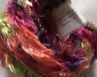 "Crystal Palace Splash #7235 ""Picnic"" Green Purple Coral Wine Feather Boa Eyelash Yarn 100 gram 85 Yards"