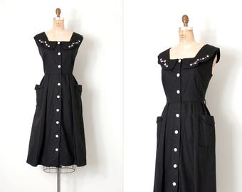 vintage early 1950s dress / black cotton early 50s dress / large - extra large