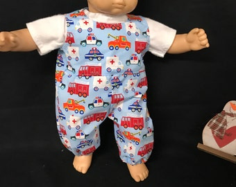 Doll Clothes For 15 Inch Dolls, Handmade to Fit Like American Girl Bitty baby, Emergency Vehicles Firetruck Police Cars Overralls and Shirt
