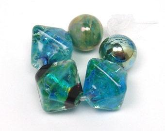 Lampwork beads  -  Shimmering Ocean  -  marine blue, aqua blue, ocean green, golden beads, silver rich glass, loose glass beads