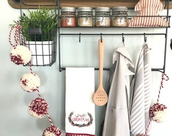 Deep Red/Natural Cream Pom Pom Garland/Bunting/Pom Pom Banner/Home Decor/Nursery Decor/Shower/Photo Prop/Neutral