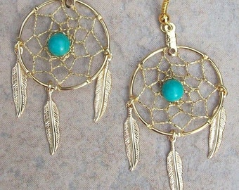 """ON SALE DREAM Catcher Earrings with Gold, Turquoise and three feathers 1"""" Dream web"""