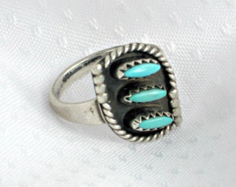 Vintage Silver Ring s4 Turquoise Sterling Jewelry Zuni Style