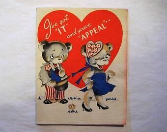 1930's Valentine,Vintage Valentine,Valentine with Bears,Children's Valentines,Student Valentines,School Valentines,East Tennessee Valentine