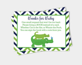 Preppy Alligator Blue Green Boy Baby Shower Book Request Enclosure Card Printable INSTANT DOWNLOAD bs-063