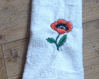 Embroidered Poppy Teatowel, Floral decorated kitchen towel , Poppy Guest Towel
