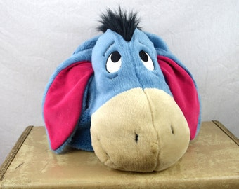 Vintage 90s Pooh Eeyore Stuffed Animal Fuzzy Backpack