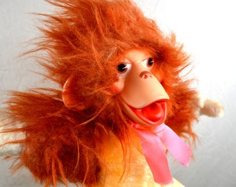 Vintage 1970s 70s Creations Coronet Monkey Stuffed Toy - Rubber Face
