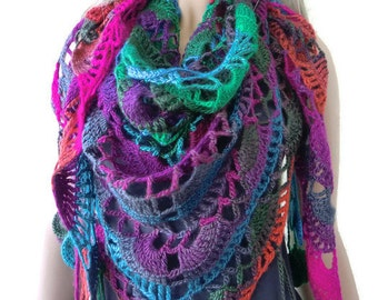 Serra Bohemian crochet scarf-multicolor Super lacy Crochet scarf with fringes-Silk and mohair-Handmade