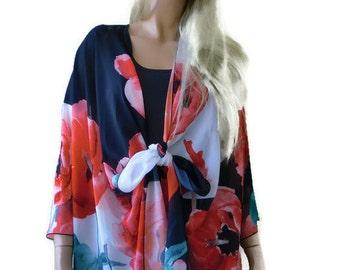 Poppy flowers Kimono/ Kimono cardigan-Bold poppies-Red Black White-Silky Italian chiffon Ruana -Summer collection-Layering piece