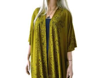 Golden Moss Green Kimono-gold green Lace Kimono -kimono jacket-kimono cardigan-Oversize kimono
