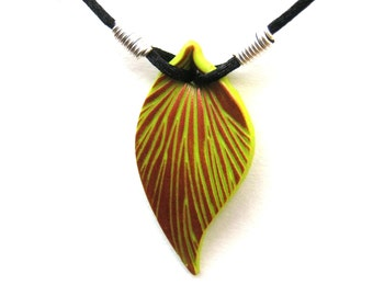 Lime Green Leaf Necklace, Copper Veins, Polymer Clay Pendant, Sculpted Leaf, Black Cord, Silver Plated Wire, Customizable