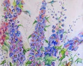 RESERVED for Caitlin, original watercolor art, abstract floral art, delphinium art, flower painting, garden art, wall decor, wildflower art