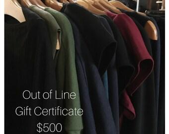 500 Dollar Gift Certificate