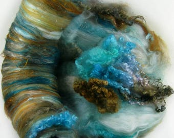 Tealed Topaz Wild Card Bling Batt for spinning and felting (6.3 ounces), batt, art batt