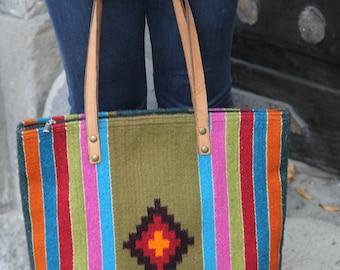 Repurposed Mexican rug tote