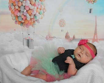 Mint and pink baby tutu