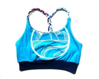 Blue Bralette. Braided Sports Bra. Coast Yoga Bralette. Strappy Bralette. Pnw Bra. Flexible Sport Bralette Sports Bra BC Mountain Surf Print