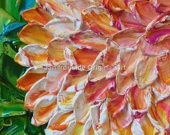 Original Oil Painting, Fine Art , Impasto peachy dahlia