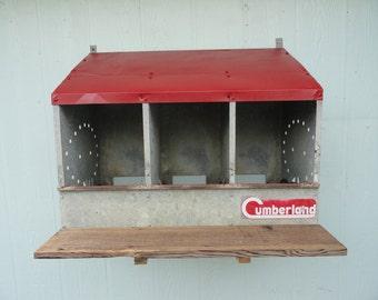 Vintage Wall Storage Decor Galvanized Chicken Coop Nest Bin Repurposed
