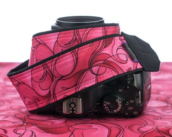 dSLR Camera Strap, Hot Pink and Red Swirls, SLR, Canon, Nikon, Mirrorless, Neck Strap,  62
