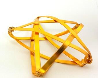 Gold Star Tree Topper -  metal star handmade tree topper - small / medium - golden 1212F