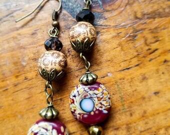 Long Red lampwork bead boho earrings, lampwork bead jewelry, maroon bead earrings, dangle boho bead earrings, dangle wood earrings
