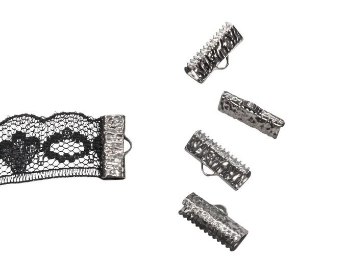 16pcs.  16mm  (5/8 inch)  Gunmetal Ribbon Clamp End Crimps - Artisan Series