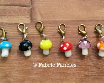 Mini toad stool stitch markers for knitting and crochet