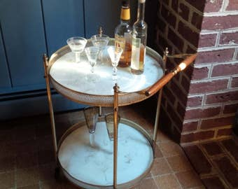 Bar Cart Brass and Marbleized Glass Round Vintage Bar Cart Happy Hour on Wheels Mid Century Industrial  Poppy Cottage Vintage Furniture