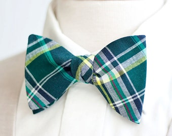 Bow Ties, Bow Tie, Bowties, Mens Bow Ties, Freestyle Bow Ties, Self-Tie Bow Ties, Ties, Plaid Bowties, Plaid  - Navy, Forest, Yellow Plaid