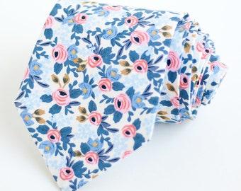 Necktie, Neckties, Mens Necktie, Neck Tie, Floral Neckties, Groomsmen Necktie, Groomsmen Gift, Rifle Paper Co - Rosa In Periwinkle