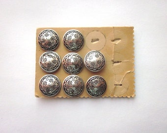 Vintage Silver Metal Stamped Buttons Austria
