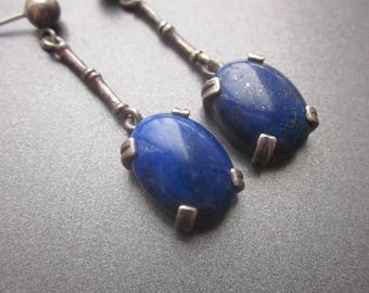 Lapis Sterling Silver Dangle Vintage Earrings Sterling Blue Gemstone Jewelry