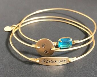 Strength Bracelet, Strength Jewelry, Custom Bracelets, Personalized Bracelets, Personalized Bangle Bracelets, Custom Bangle Bracelets