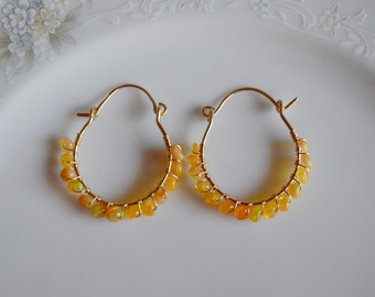 Ethiopian and gold wire wrapped hoop earrings, ethiopian opal jewelry, opal earrings