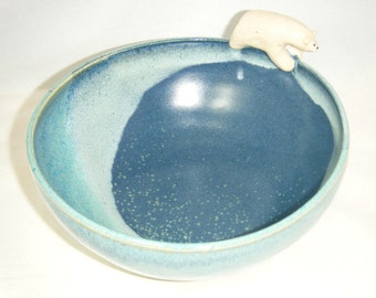 Polar Bear Bowl Blue Soup Bowl ClayDogStudio