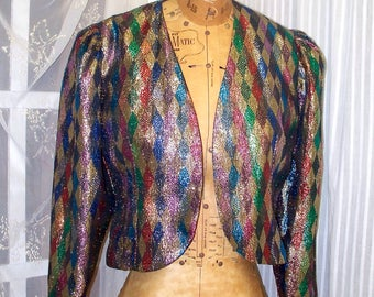 harlequin disco glitter glam rock sparkly metallic weave jacket