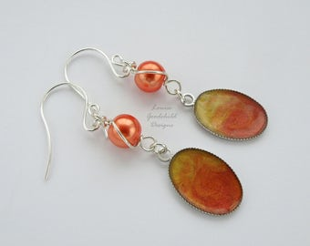 Flame earrings, coral earrings, orange pearl earrings, orange and yellow, sterling silver, pearl earrings, hand painted, peach earrings