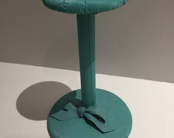 Vintage wood hat stand display turquoise vinyl millinery haberdashery boutique teens room