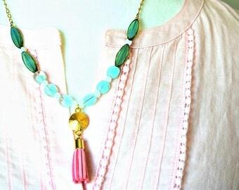 Dainty Pink Tassel Necklace