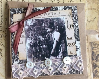 Handmade Greeting Card Featuring Vintage Photo of Young Gardener