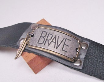Black Leather Cuff Bracelet Brave Black and Gray Cuff