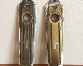 Vintage Metal Art Deco Door Lock Plates.