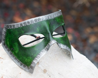Green and Silver Leather Masquerade Mask