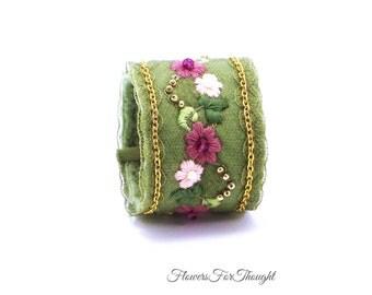 Embroidered Flower Cuff, Textile Bracelet,Wearable Fiber Art for Wrist